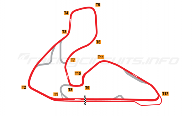 Map of Wakefield Park, Full circuit 1994-99