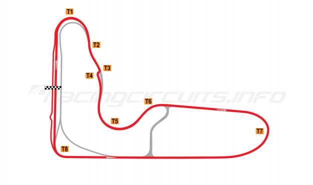Map of Barbagallo Raceway Wanneroo, Bike circuit 2019 to date