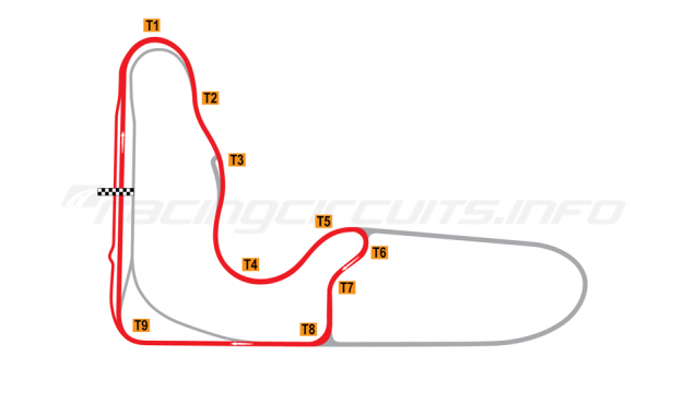 Map of Barbagallo Raceway Wanneroo, Short circuit 2019 to date