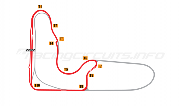 Map of Barbagallo Raceway Wanneroo, Short bike circuit 2019 to date