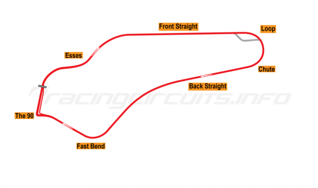 Map of Watkins Glen, Grand Prix Circuit 1956-70