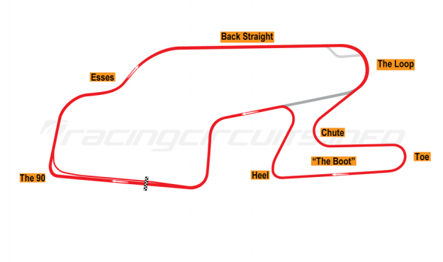 Map of Watkins Glen, Grand Prix Circuit 1971-74