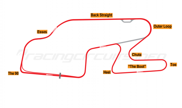 Map of Watkins Glen, Grand Prix Circuit 1992 to date