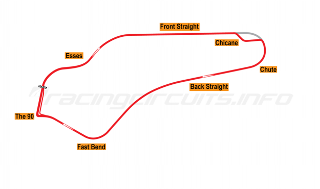 Map of Watkins Glen, Grand Prix Circuit with chicane 1956-70