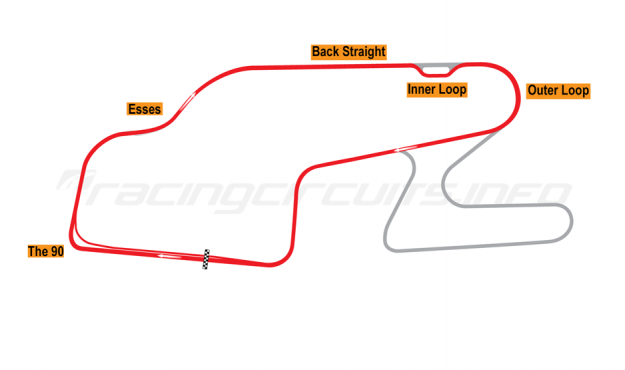 Map of Watkins Glen, Short Circuit with Inner Loop 1992 to date