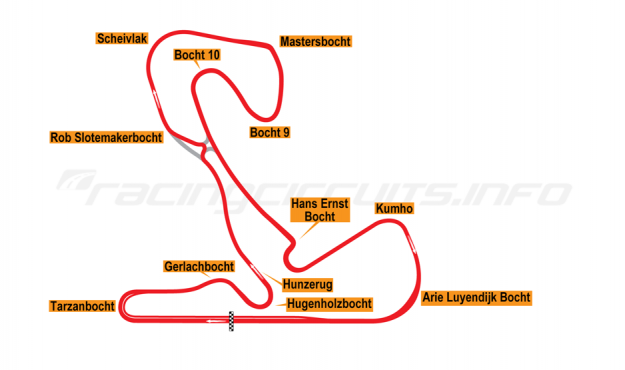 Map of Zandvoort, Grand Prix Circuit with chicane 2020 onwards