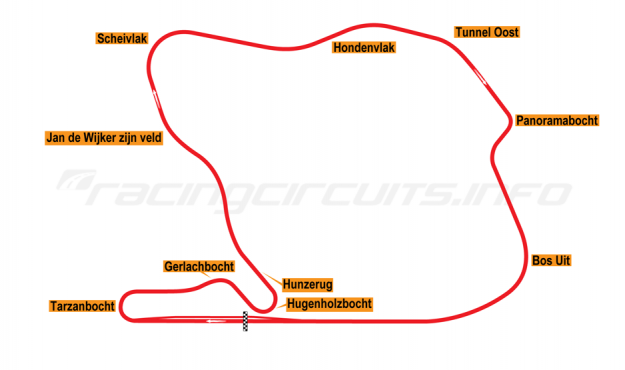 Map of Zandvoort, Grand Prix Circuit 1973-74