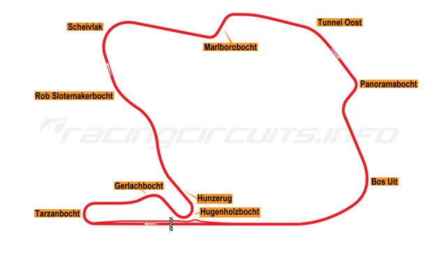Map of Zandvoort, Grand Prix Circuit 1980-89