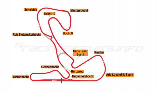Map of Zandvoort, Grand Prix Circuit with chicane 1999 to date