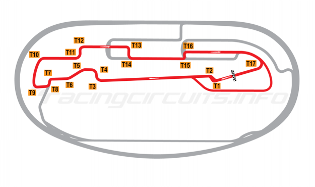 Map of Auto Club Speedway, Fontana, Interior Road Course 2001 to date