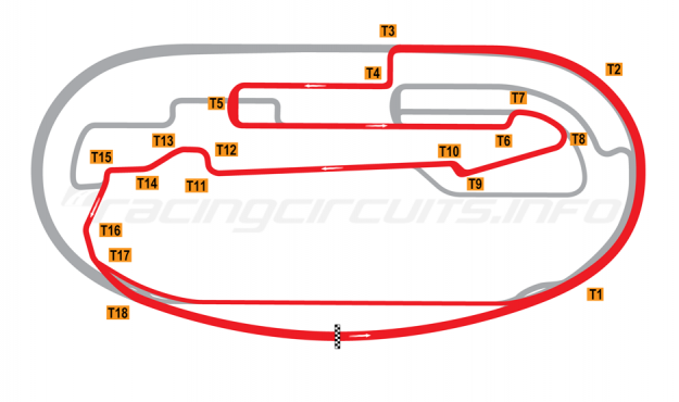 Map of Auto Club Speedway, Fontana, Road Course 2001 to date