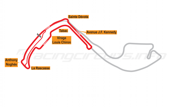 Map of Monte Carlo, ePrix Circuit 2015 to date