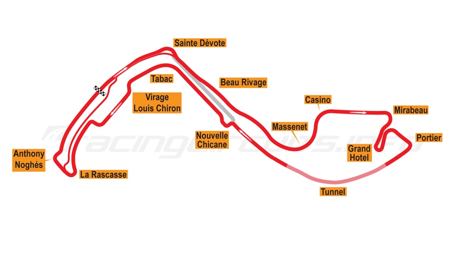 map of monte carlo, grand prix circuit 2015 to date